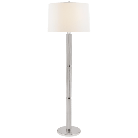 Barrett Large Knurled Floor Lamp in Polished Nickel with Linen Shade