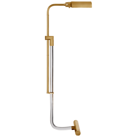 Warner Pharmacy Floor Lamp in Crystal and Natural Brass