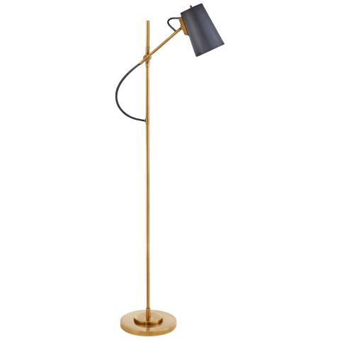 Benton Adjustable Floor Lamp in Natural Brass with Navy Leather Shade