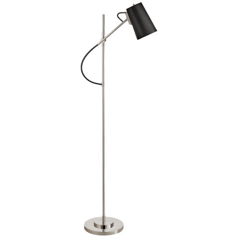 Benton Adjustable Floor Lamp in Polished Nickel with Chocolate Leather Shade