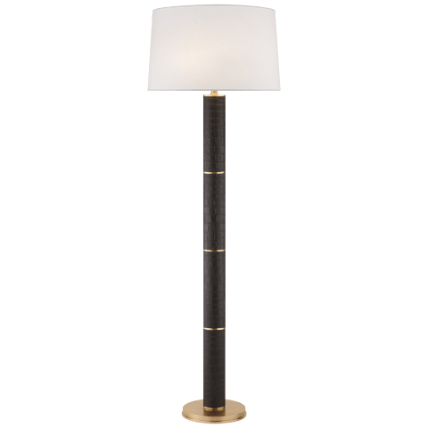 Upper Fifth Floor Lamp in Black Faux Croc and Natural Brass with Silk Shade