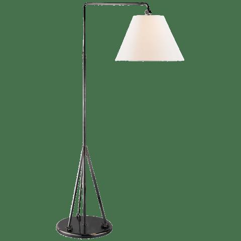 Brompton Swing Arm Floor Lamp in Bronze with Linen Shade