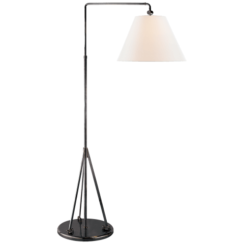 Brompton Swing Arm Floor Lamp in Bronze with Linen Shade