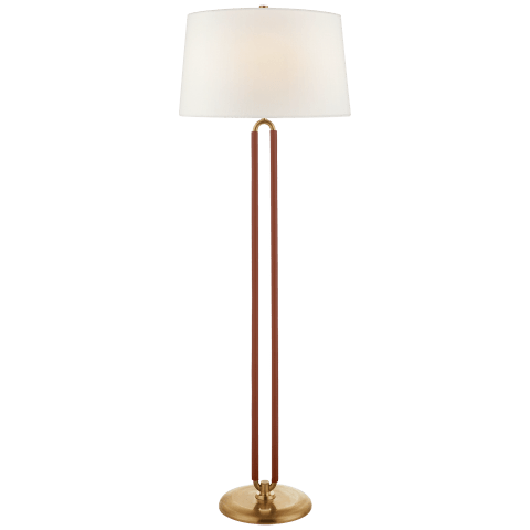 Cody Large Floor Lamp in Natural Brass and Saddle Leather with Linen Shade