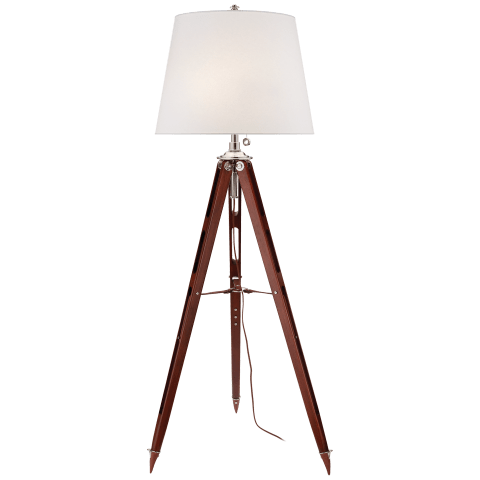 Holden Surveyor's Floor Lamp in Mahogany with White Paper Shade