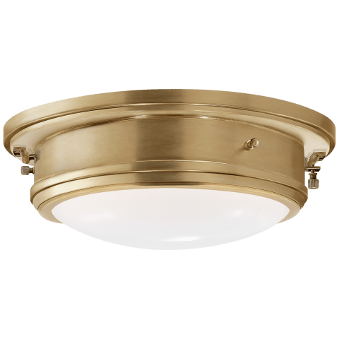 Marine Porthole Medium Flush Mount in Natural Brass with White Glass