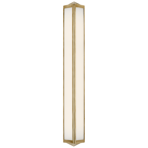 Geneva Large Sconce in Natural Brass with White Glass