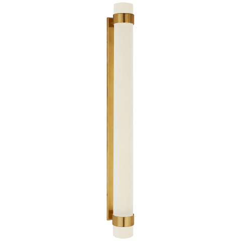 Barton Grande Bath Sconce in Natural Brass with Etched Crystal