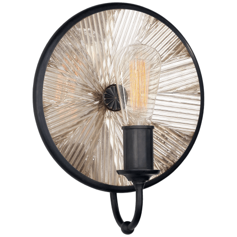 Rivington Small Round Sconce in Bronze with Antiqued Ribbed Mirror