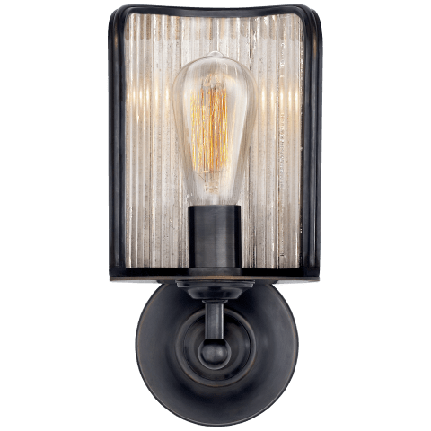 Rivington Shield Sconce in Bronze with Antiqued Ribbed Mirror