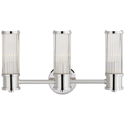 Allen Triple Sconce in Polished Nickel and Glass Rods