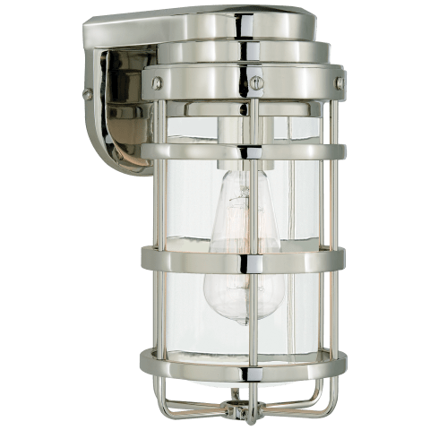 Crosby Small Sconce in Polished Nickel with Clear Glass