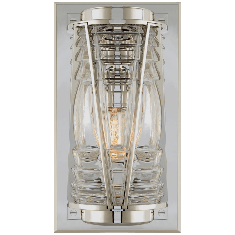 Chatham Medium Wall Lantern in Polished Nickel with Clear Glass