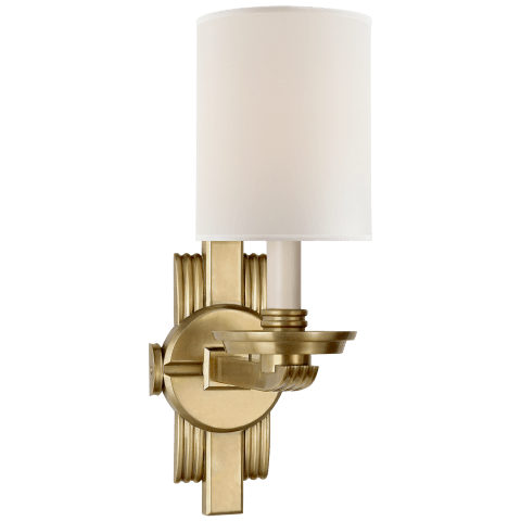 Chloe Sconce in Natural Brass with Percale Shade