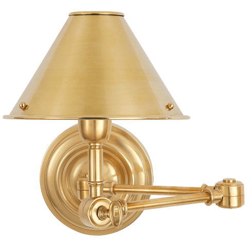 Anette Swing Arm Sconce in Natural Brass