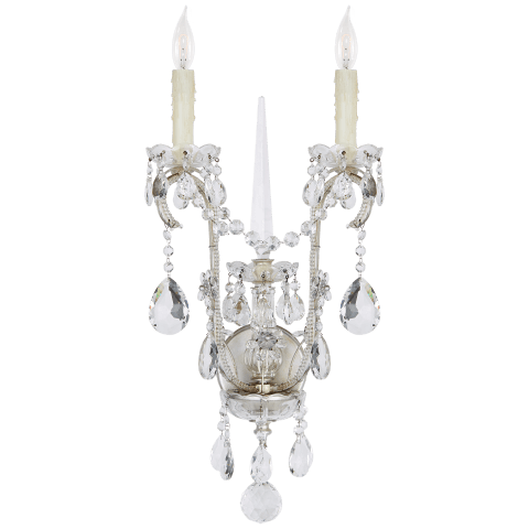 Alessandra Large Chandelier Sconce in Antique Silver Leaf with Crystal