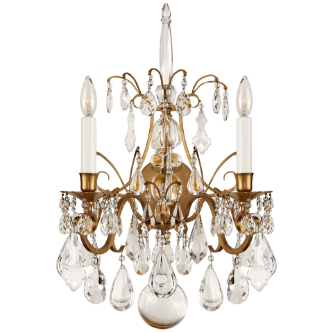 Antoinette Large Sconce in Natural Brass and Crystal