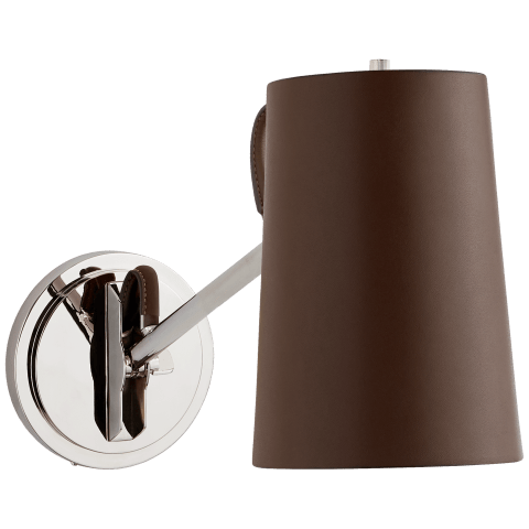 Benton Single Library Sconce in Polished Nickel with Chocolate Leather Shade