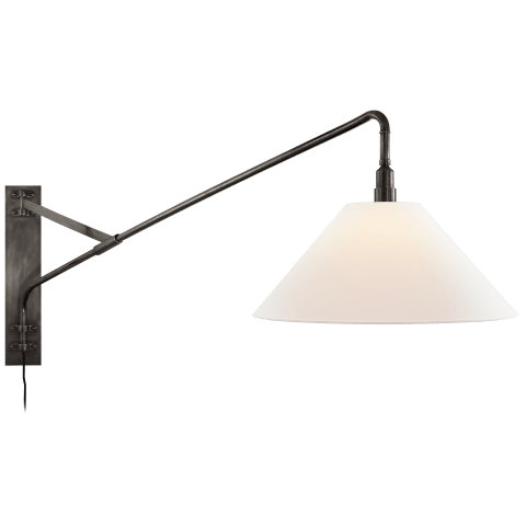 Brompton Large Extension Swing Arm Sconce in Bronze with Linen Shade