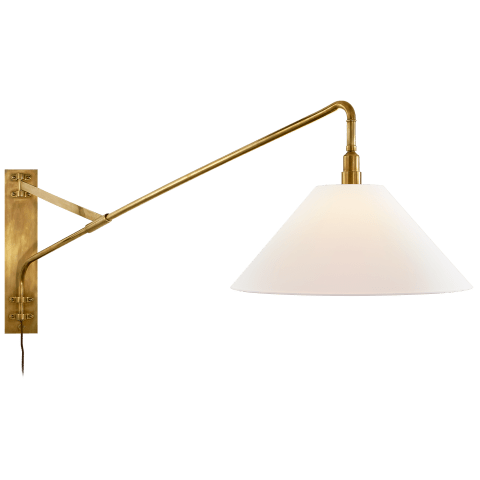 Brompton Large Extension Swing Arm Sconce in Natural Brass with Linen Shade