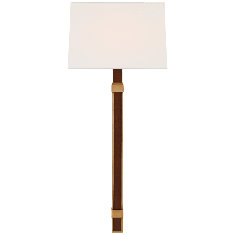 Mitchell Tail Sconce in Natural Brass and Natural Rift Oak with Linen Shade