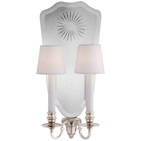 Clarissa Double Sconce in Butler's Silver and Cut Mirror with Silk Hardback Shades
