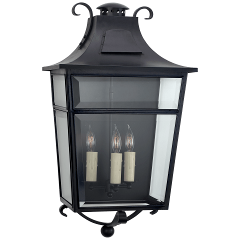 Carrington Large Wall Lantern in French Rust with Clear Glass