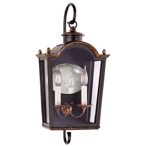 Brinkley Small Bracketed Lantern in Old Black Tole with Clear Glass