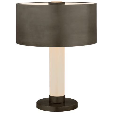 Barton Desk Lamp in Bronze and Etched Crystal with Bronze Shade