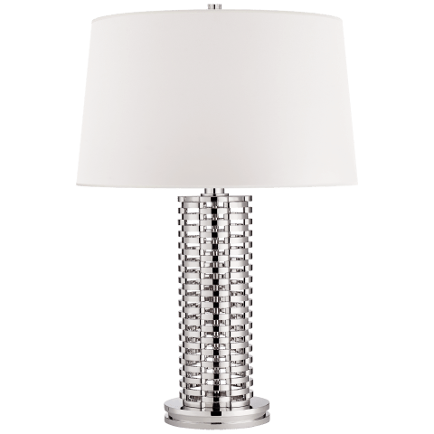 Waverly Table Lamp in Polished Nickel with White Paper Shade