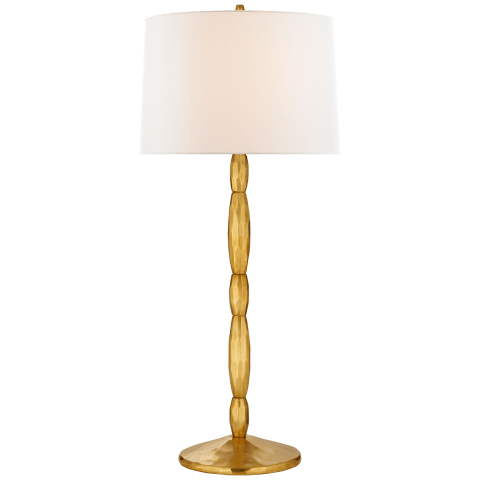 Hollis Large Table Lamp in Natural Brass with Linen Shade