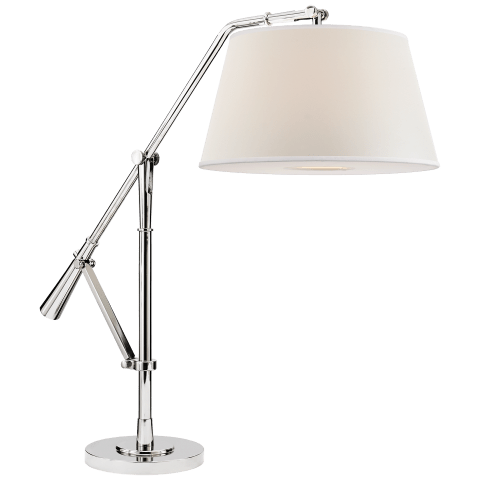 Nolan Loft Table Lamp in Polished Nickel with Percale Shade