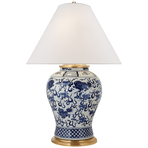 Foo Dog Large Table Lamp in Blue and White with Silk Shade