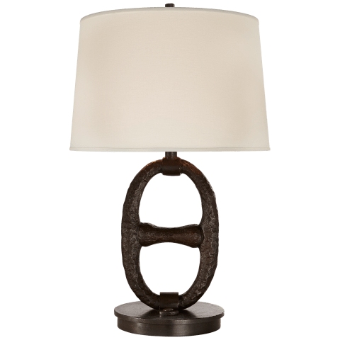 Kennedy Table Lamp in Aged Iron with Linen Shade