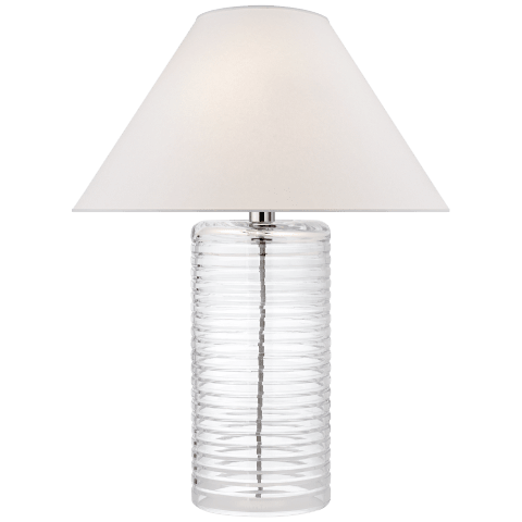 Metropolis Table Lamp in Clear Glass with Silk Shade