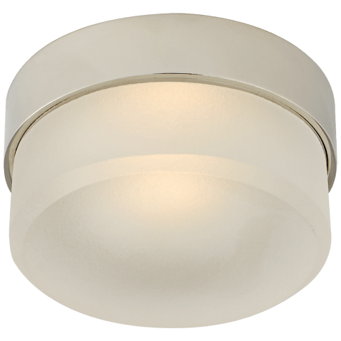 """Barton 4"""" Flush Mount in Polished Nickel with Etched Crystal"""
