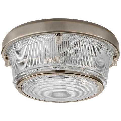 Grant Large Flush Mount in Antique Nickel with Industrial Prismatic Glass