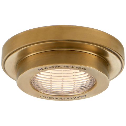"Grant 4.5"" Solitaire Flush Mount in Natural Brass"