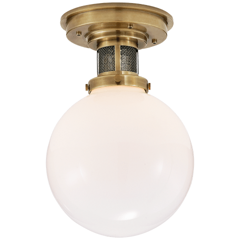 McCarren Small Flush Mount in Natural Brass with White Glass