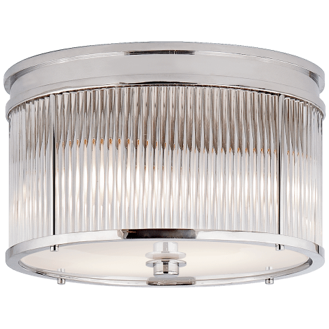 Allen Medium Round Flush Mount in Polished Nickel and Glass Rods with White Glass
