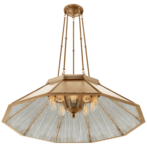 Rivington Large Ten-Paneled Chandelier in Natural Brass with Antiqued Ribbed Mirror