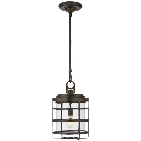 Crosby Large Lantern in Aged Iron with Clear Glass