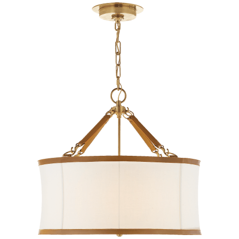 Broomfield Small Hanging Shade in Natural Brass and Saddle Leather with Linen Shade