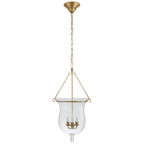 Julianne Small Smoke Bell Lantern in Natural Brass with Clear Glass