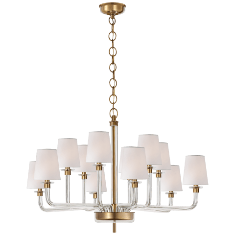 Parker Large Chandelier in Natural Brass and Crystal with Silk Shade