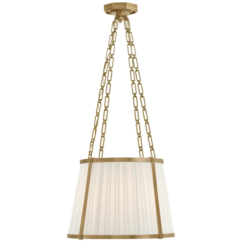 Windsor Medium Hanging Shade in Natural Brass with Boxpleat Silk Shade