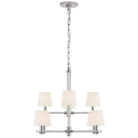 Sable Small Chandelier in Crystal and Polished Nickel with Linen Shades