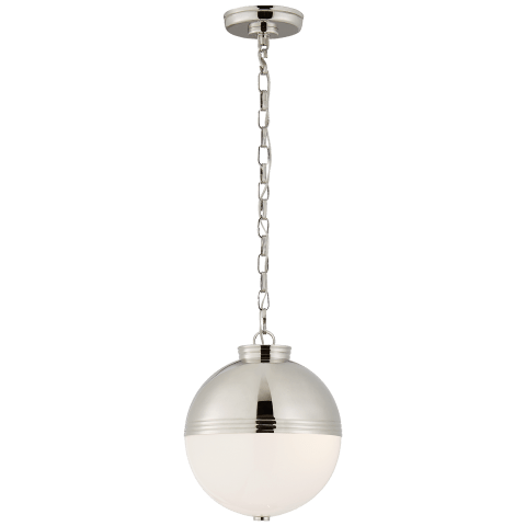 Montgomery Medium Globe Pendant in Polished Nickel with White Glass