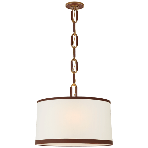 Cody Medium Hanging Shade in Natural Brass with Linen Shade and Saddle Leather Trim