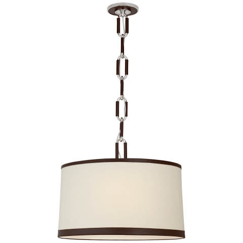 Cody Medium Hanging Shade in Polished Nickel with Linen Shade and Chocolate Leather Trim